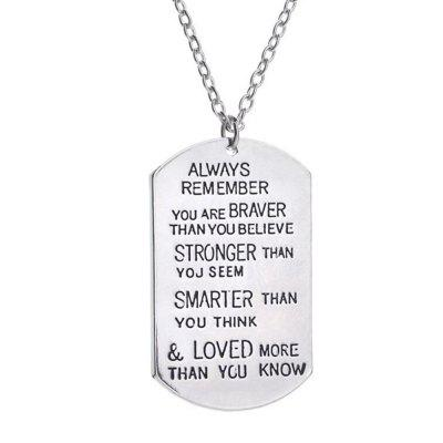 Dog Tags Always Remember You Are Braver Pendant Inspirational Necklace Jewelry Gifts