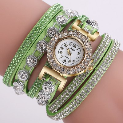 DUOYA D196 Women Wrap Quartz Wrist Watch with Diamond