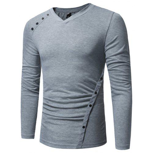 456def9e53f New Men'S Casual Long-Sleeved T-Shirt Fashion Oblique Button Design Base  Shirt | Gearbest