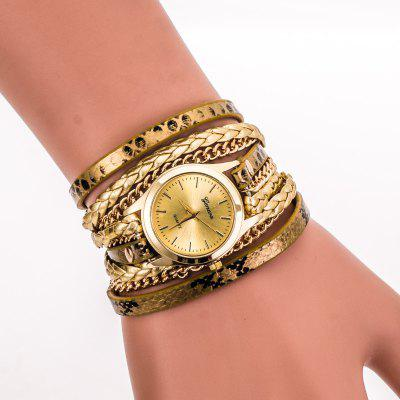 Geneva Retro Elements Leopard Woven Ladies Bracelet Watch