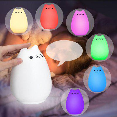Children Kids Night Light LED Cute Silicone Cat Lamp