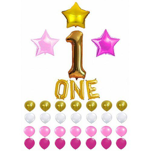 PINK Birthday DECORATION SET Latex Mylar Star Balloons For 1st Party Balloon Decoration
