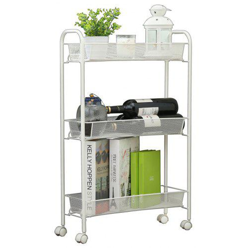 3 Tier Mesh Rolling Kitchen Cart with 3 baskets Slim Slide Out Storage for  Narrow Space