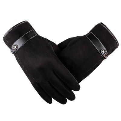 Autumn and Winter Touch Screen Glove Male Cashmere with Velour and Warm Car Ride Without Down Suede