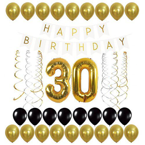 Letters Happy Birthday Banner And Gold Balloons Streamer For 21st 30th 40th 50th 60th 70th