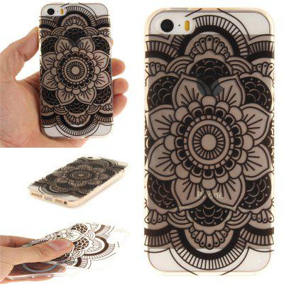 Cover Case for  iPhone 5S/SE Black Sunflower Soft Clear IMD TPU Phone Casing Mobile Smartphone