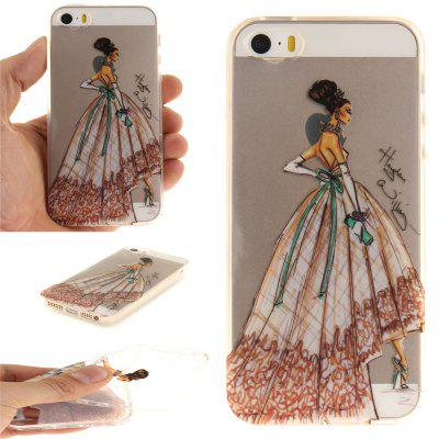 Cover Case for iPhone 5S/SE Hand-Painted Dress Soft Clear IMD TPU Phone Casing Mobile Smartphone for iphone 7 smile painted soft clear tpu phone casing mobile smartphone cover shell case