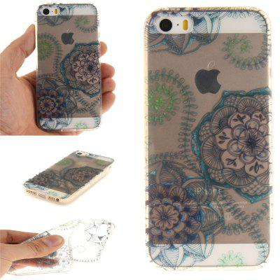 Cover Case for iPhone 5S/SE Blue Green Dream Flower Soft Clear IMD TPU Phone Casing Mobile Smartphone soft imd tpu case cover for iphone 7 plus rose dream catcher