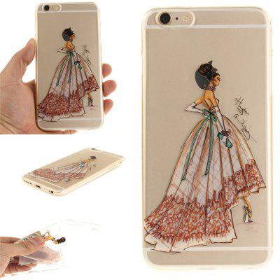 Cover Case for iPhone 6 Plus Hand-Painted Dress Soft Clear IMD TPU Phone Casing Mobile Smartphone for iphone 7 smile painted soft clear tpu phone casing mobile smartphone cover shell case
