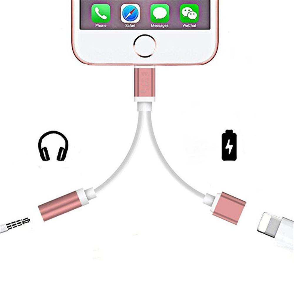 2 in 1 Audio Adapter 8 Pin 2 to 3.5mm Aux Headphone Jack for iphone 7 Plus / 7 - ROSE GOLD