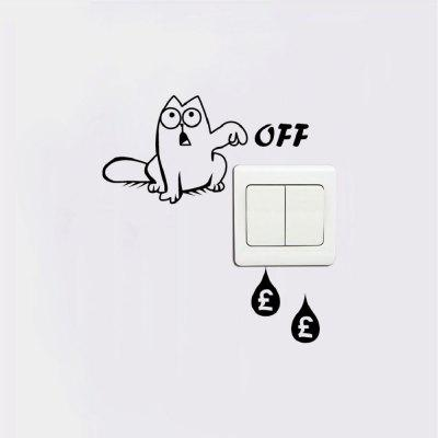 Cat-127 Funny Cat Light Switch Sticker Save Electricity Vinyl Wall Decal