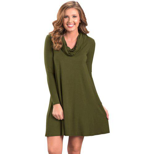 420a69ece12c Cowl Neck Long Sleeve Casual Loose Swing Dress - $22.33 Free Shipping  Gearbest.com