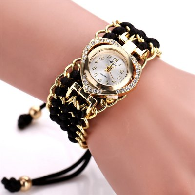 DUOYA D109 Women Heart Shaped Analog Quartz Metal Wrist Watch