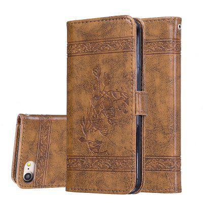 for IPhon8/7 Case Cover Embossed Oil Wax Lines Phone Case Cover PU Leather Wallet Style Case