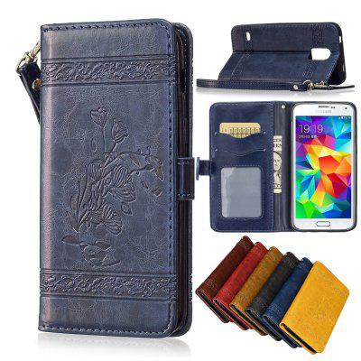 for Samsung Galaxy S5 Case Cover Embossed Oil Wax Lines Phone Case Cover PU Leather Wallet Style Case