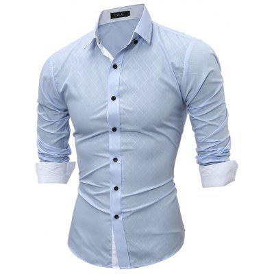 Spring New Classic Dark Line Lingge Male Casual Long Sleeved Shirt