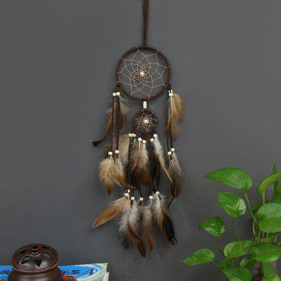 Indian Style Brown Dream Catcher Feathers Core Bead Dreamcatcher for Wall Car Decoration