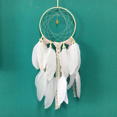 New Fashion Gift India Lace White and Pink Dreamcatcher With Feather Wind Chimes Wall Hanging Pendant Dream Catcher pastel chandelier beaded feather mobile dreamcatcher