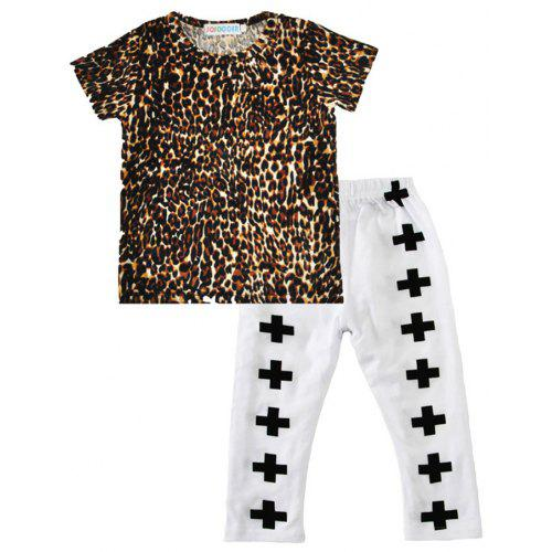 a8d01cf9c SOSOCOER Kids Clothes Set Leopard Print Short Sleeved T - Shirts and Cross  - Printed Trousers