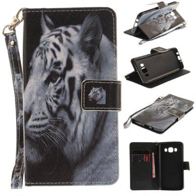 Cover Case for Samsung Galaxy J510(J5 2016) The White Tiger PU+TPU Leather with Stand and Card Slots Magnetic Closure