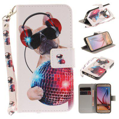 Cover Case for Samsung Galaxy S6 Fashion Dog PU+TPU Leather with Stand and Card Slots Magnetic Closure