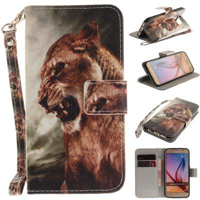 Cover Case for Samsung Galaxy S6 A Male Lion PU+TPU Leather with Stand and Card Slots Magnetic Closure