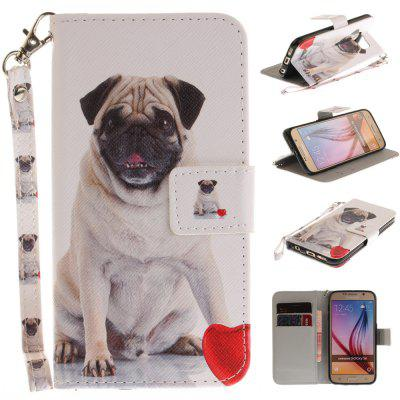 Cover Case for Samsung Galaxy S6 Pug PU+TPU Leather with Stand and Card Slots Magnetic Closure