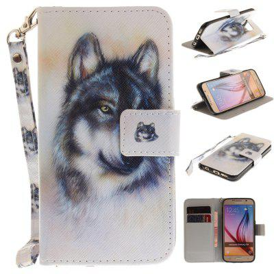 Cover Case for Samsung Galaxy S6 Wolf PU+TPU Leather with Stand and Card Slots Magnetic Closure