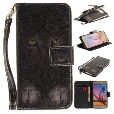 Cover Case for Samsung Galaxy S6 Mystery Cat PU+TPU Leather with Stand and Card Slots Magnetic Closure