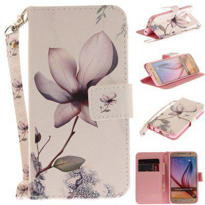 Cover Case for Samsung Galaxy S6 Magnolia PU+TPU Leather with Stand and Card Slots Magnetic Closure