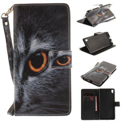 Cover Case for Sony XA Ultera C6 Half A Face of A Cat PU+TPU Leather with Stand and Card Slots Magnetic Closure