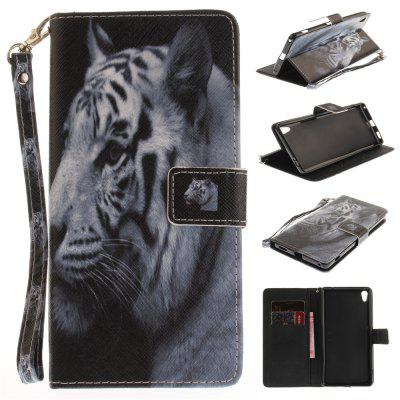Cover Case for Sony XA Ultera C6 The White Tiger PU+TPU Leather with Stand and Card Slots Magnetic Closure