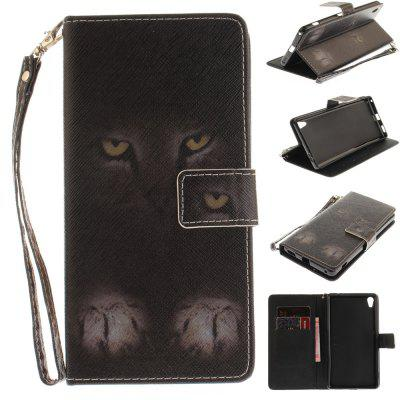 Cover Case for Sony XA Ultera C6 Mystery Cat PU+TPU Leather with Stand and Card Slots Magnetic Closure