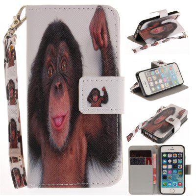 Cover Case for IPhone 5 5S SE Monkey PU+TPU Leather with Stand and Card Slots Magnetic Closure free shipping new 10 1 original stand magnetic leather case cover for lenovo ibm thinkpad 10 tablet pc with sleep function