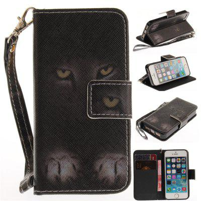 Cover Case for IPhone 5 5S SE Mystery Cat PU+TPU Leather with Stand and Card Slots Magnetic Closure