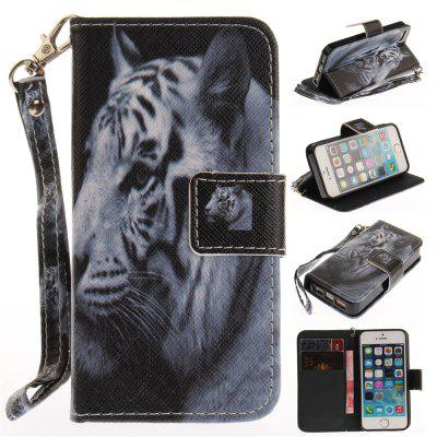 Cover Case for IPhone 5 5S SE The White Tiger PU+TPU Leather with Stand and Card Slots Magnetic Closure kinston grass butterfly pattern protective pu leather case cover stand for iphone 5 5s white