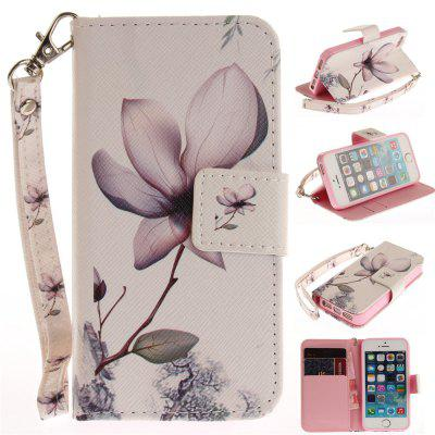 Cover Case for IPhone 5 5S SE Magnolia PU+TPU Leather with Stand and Card Slots Magnetic Closure