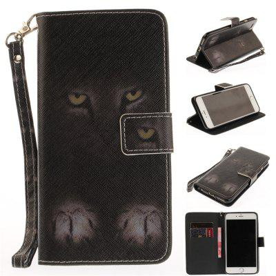 Cover Case for IPhone 6 6S Mystery Cat PU+TPU Leather with Stand and Card Slots Magnetic Closure