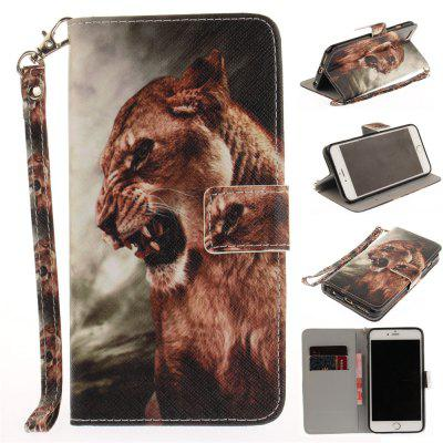 Cover Case for IPhone 6 6S A Male Lion PU+TPU Leather with Stand and Card Slots Magnetic Closure