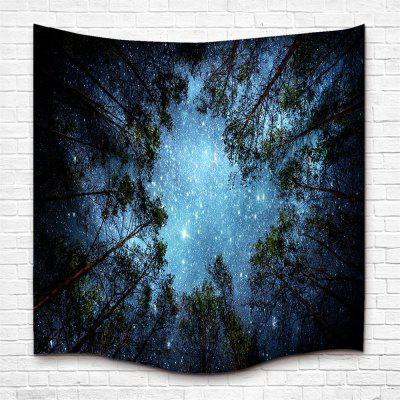The Forest and Starry Sky 3D Digital Printing Home Wall Hanging Nature Art Fabric Tapestry for Dorm Bedroom Living Room