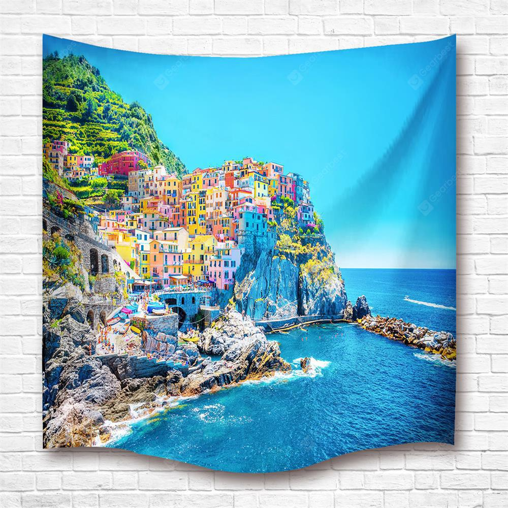 Mediterranean Fishing Village Water Proof Polyester 3D Printing Shower Curtain