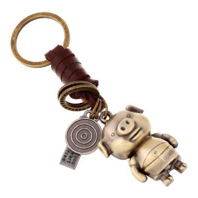 Creative Braided Leather Cord Car Male Couples Key Ring Alloy Screw Robot