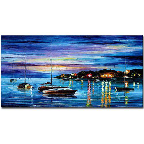Hand Painted Modern Abstract Sail Boat Seascape Oil Painting On Canvas Living Room Bedroom Wall Decor
