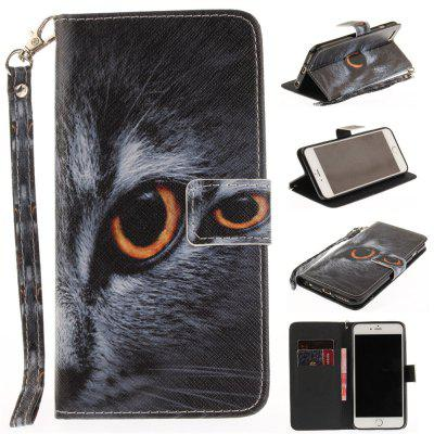Cover Case for IPhone 6 Plus 6S Plus Half A Face of A Cat PU+TPU Leather with Stand and Card Slots Magnetic Closure icarer wallet genuine leather phone stand cover for iphone 6s plus 6 plus marsh camouflage
