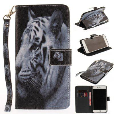 Cover Case for IPhone 6 Plus 6S Plus The White Tiger PU+TPU Leather with Stand and Card Slots Magnetic Closure floveme genuine leather waist phone pouch cover for iphone 7 plus 6s plus 6 plus with card slots dark grey