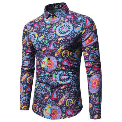 The New Spring Folk Style Print Mens Long Sleeve Shirt