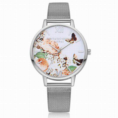 Lvpai P155 Women Fashion Metal Band Butterfly and Flowers Dial Quartz Watch