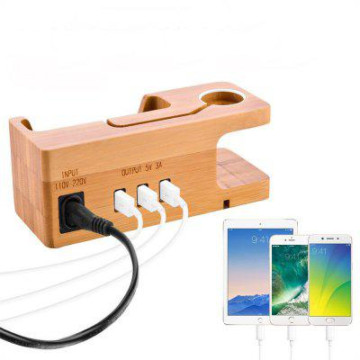 Bamboo Wood Multi-functional USB Charging Station with 3 USB Ports for Apple Watch