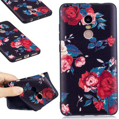 Relief Silicone Case for Xiaomi Redmi Note 4 / 4X 64GB Red Flowers Pattern Soft TPU Protective Back Cover