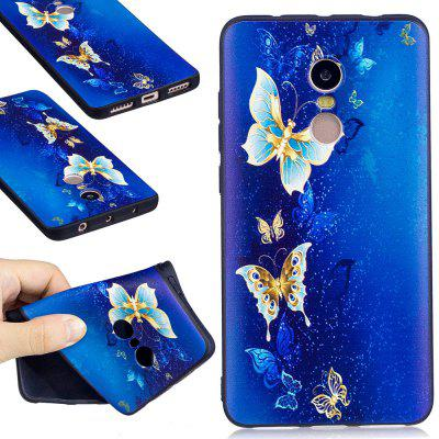 Relief Silicone Case for Xiaomi Redmi Note 4 / 4X 64GB Golden Butterfly Pattern Soft TPU Protective Back Cover
